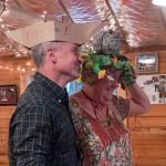 "Kevin Ulrichsen with the runner up winner Karen McDonough in her ""Frog Hat"""