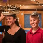 Sarah Ulrichesen in her prize winning hat with her brother Erik