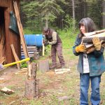 Alan & Bill chopped wood while Becky carried it inside
