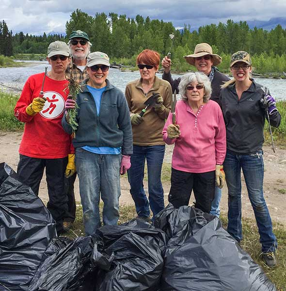 North Fork Weed Wranglers with their sacks of weeds