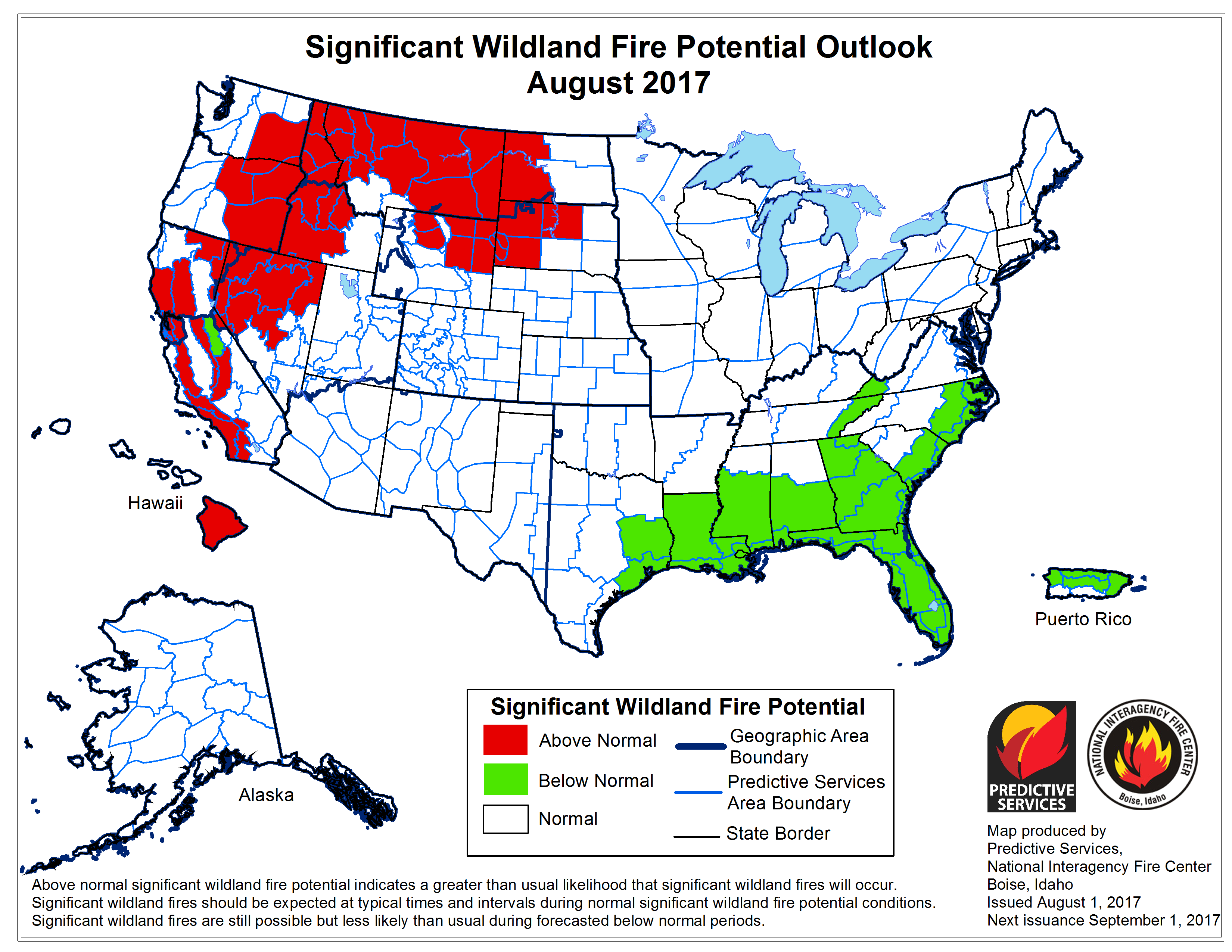 Significant Wildland Fire Potential Outlook for August 2017