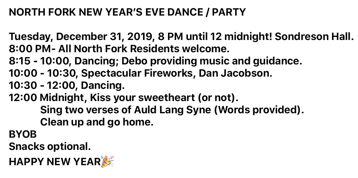North Fork New Year's Eve Party/Dance Announcement