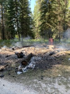 Remains of Ford Creek Cabin after July 23 arson fire - taken July 26, 2020 - GNP