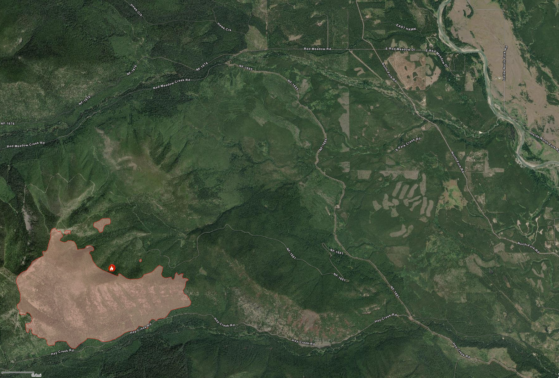Hay Creek Fire at 1160 acres, July 24, 2021