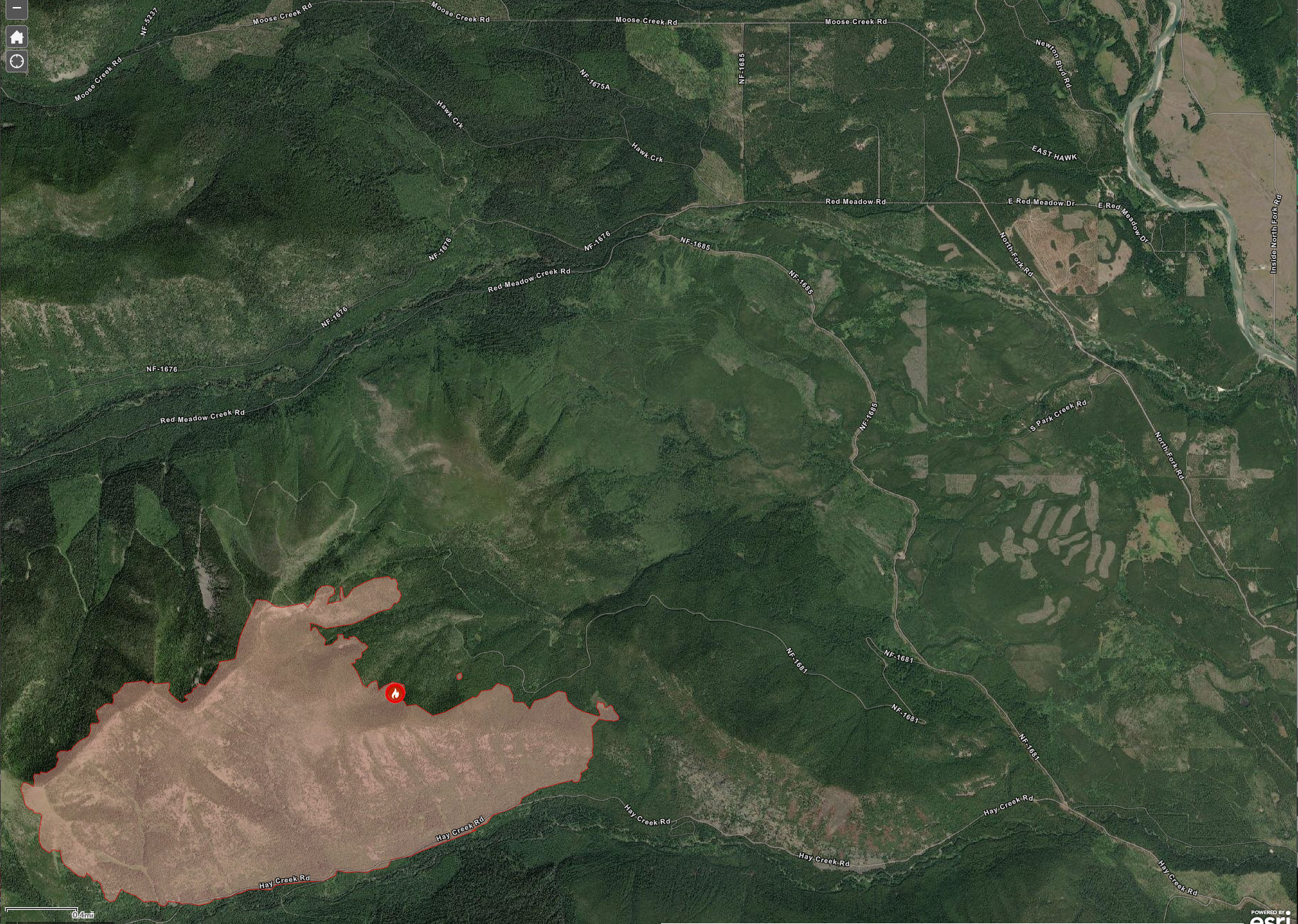 Hay Creek Fire at 1945 acres, July 28, 2021
