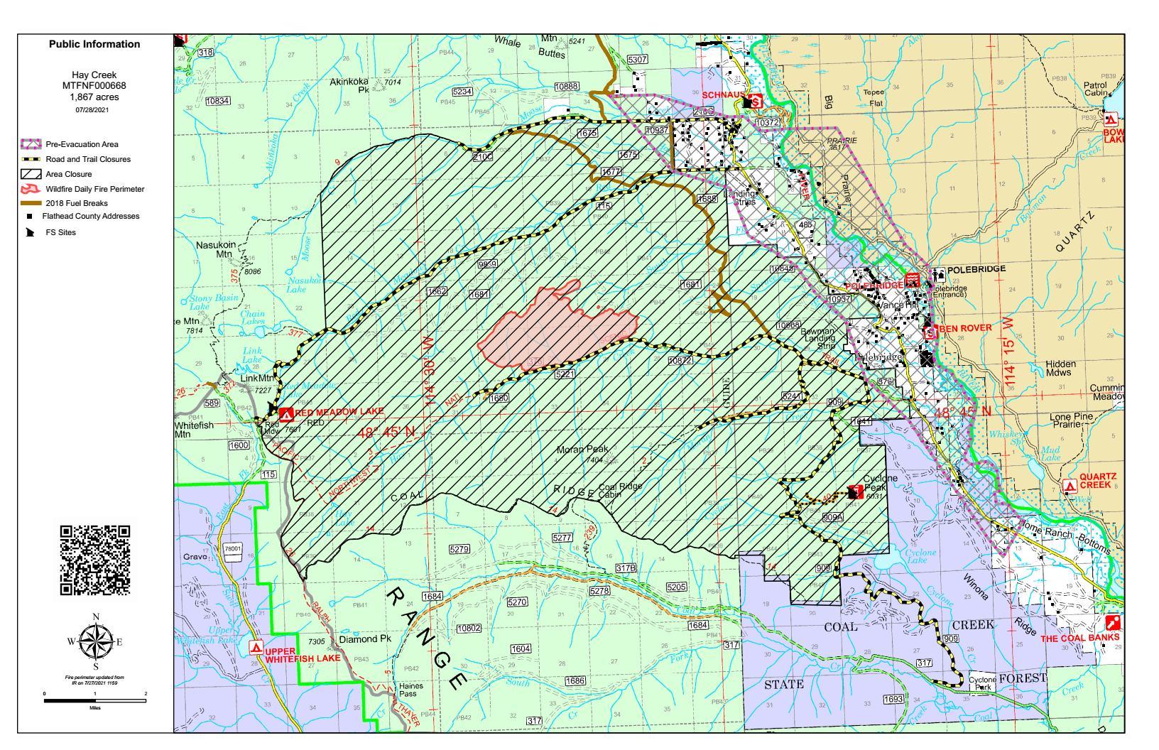 July 28, 2021 Hay Creek Fire Map