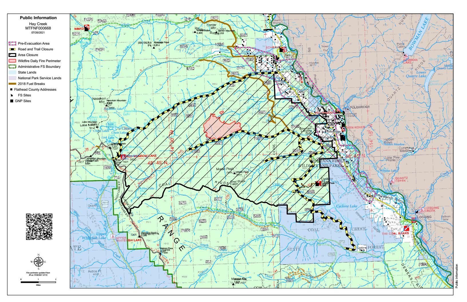 Public Information Map - Hay Creek Fire, July 26, 2021