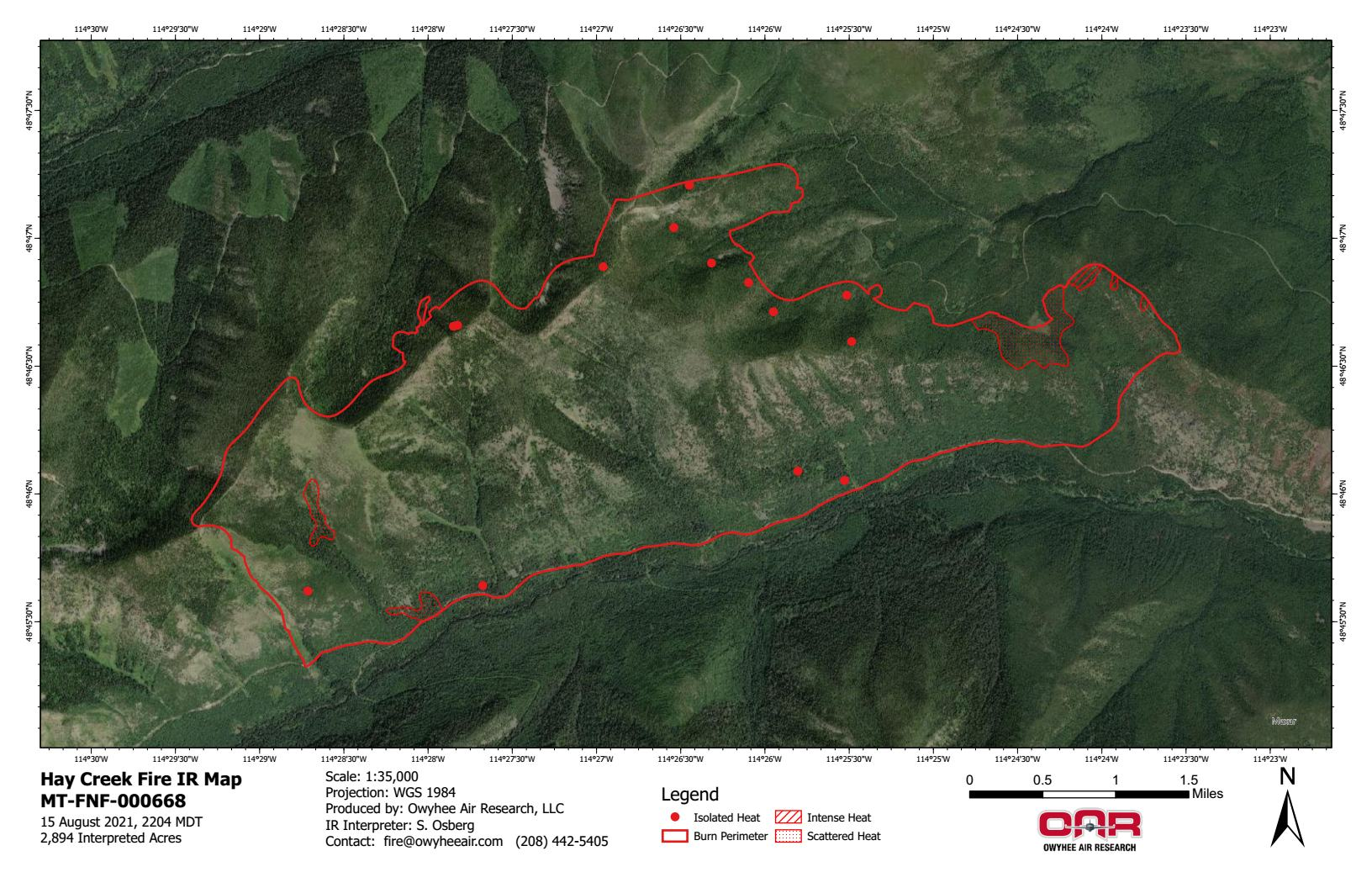 Hay Creek Fire – IR Imagery, Ortho – Aug 15, 2021
