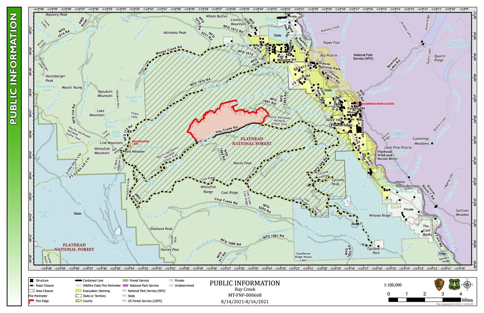 Hay Creek Fire Public Info Map for August 14-16, 2021