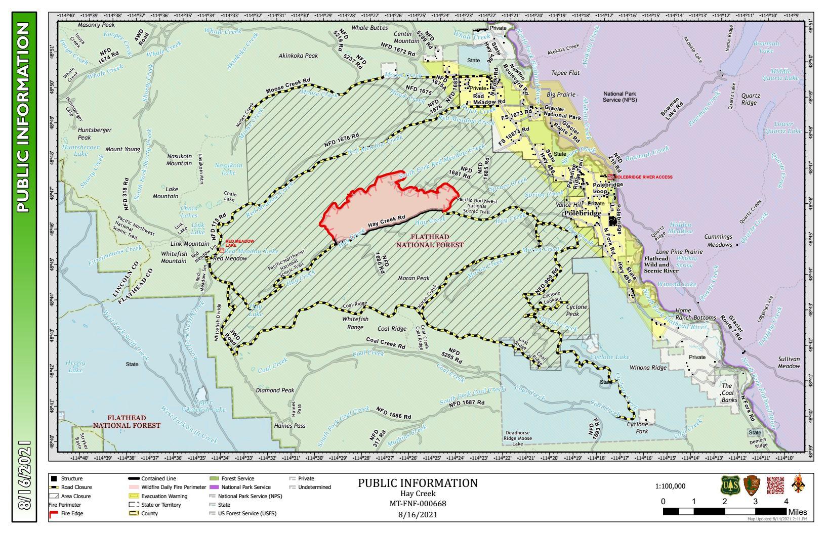 Hay Creek Fire Public Info Map for August 16-17, 2021