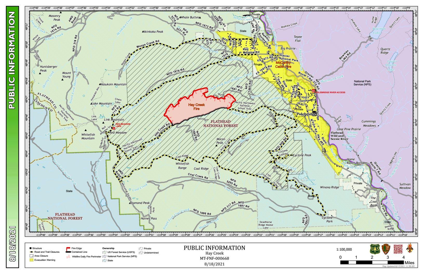 Hay Creek Fire Public Info Map for August 18, 2021