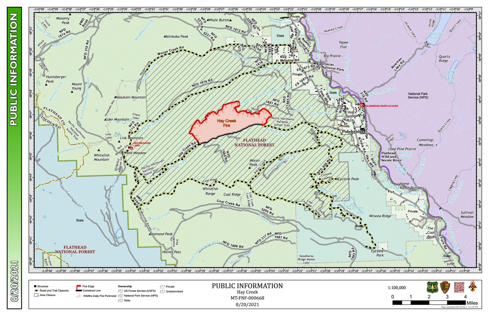 Hay Creek Fire Public Info Map for August 20, 2021