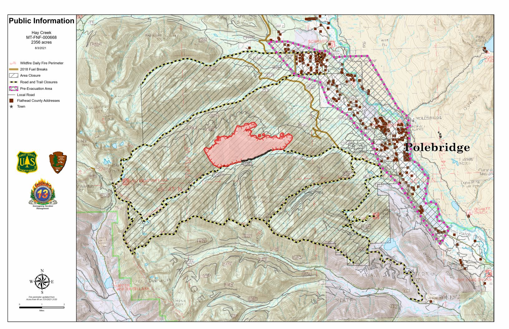 Hay Creek Fire Public Information Map, Aug 3, 2021