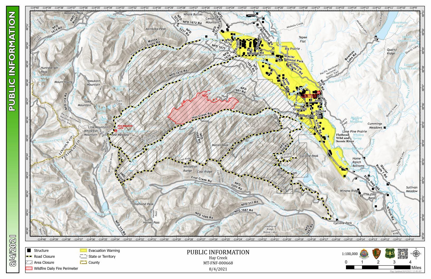 Hay Creek Fire Public Information Map, Aug 4, 2021