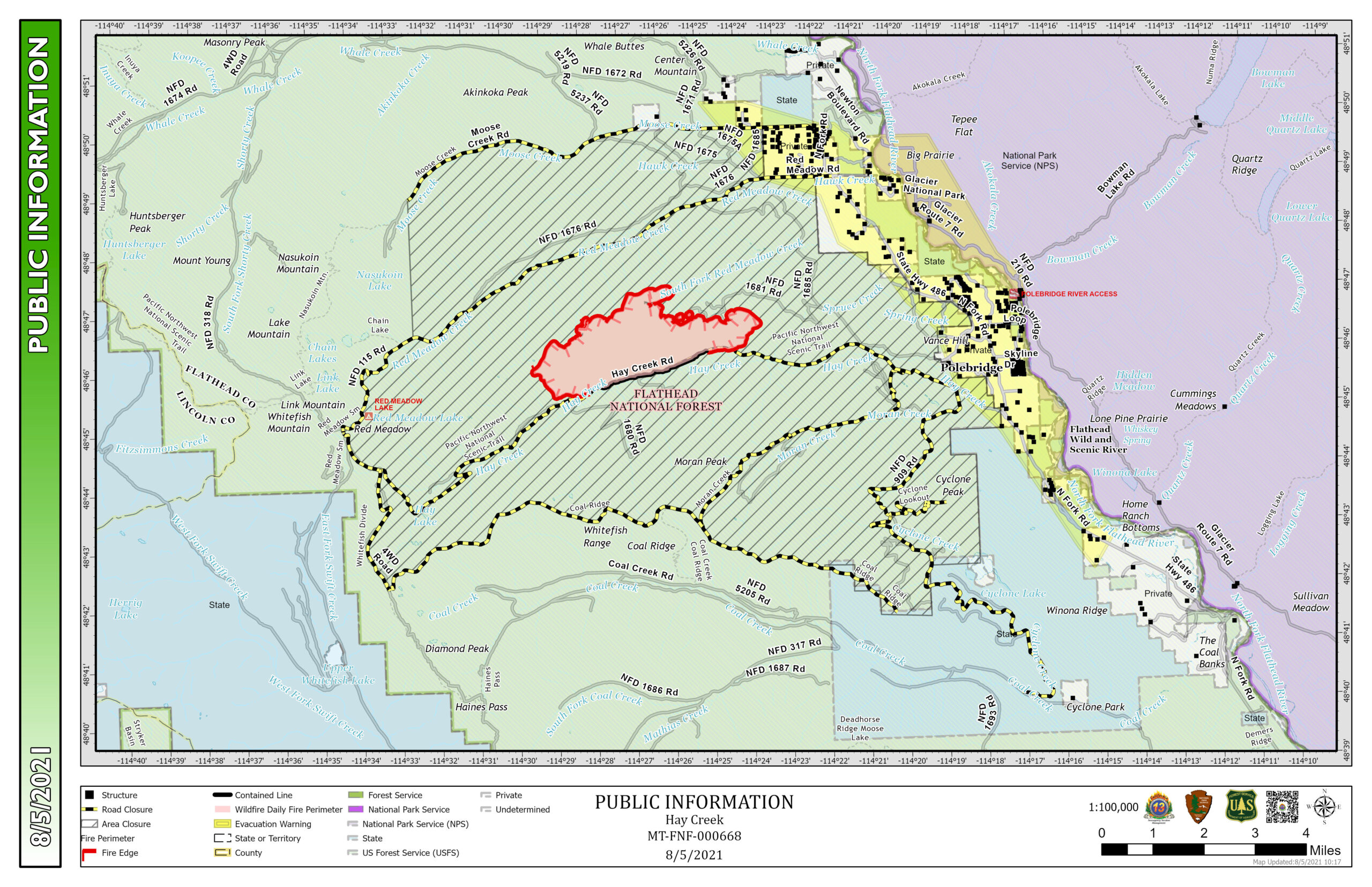 Hay Creek Fire Public Information Map, Aug 5, 2021 (updated)