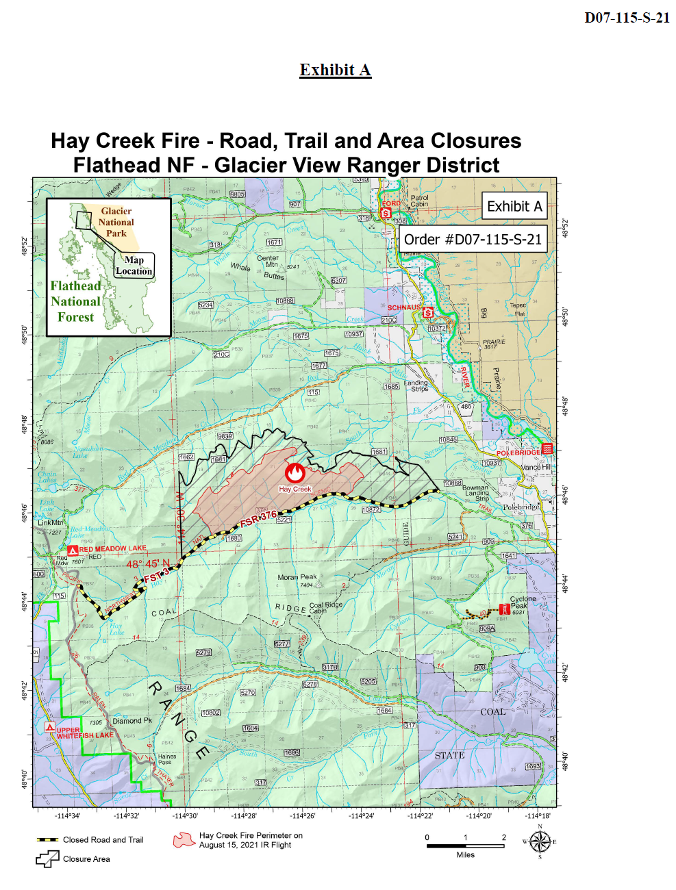 Hay Creek Fire - Road, Trail and Area Closures, August 23, 2021