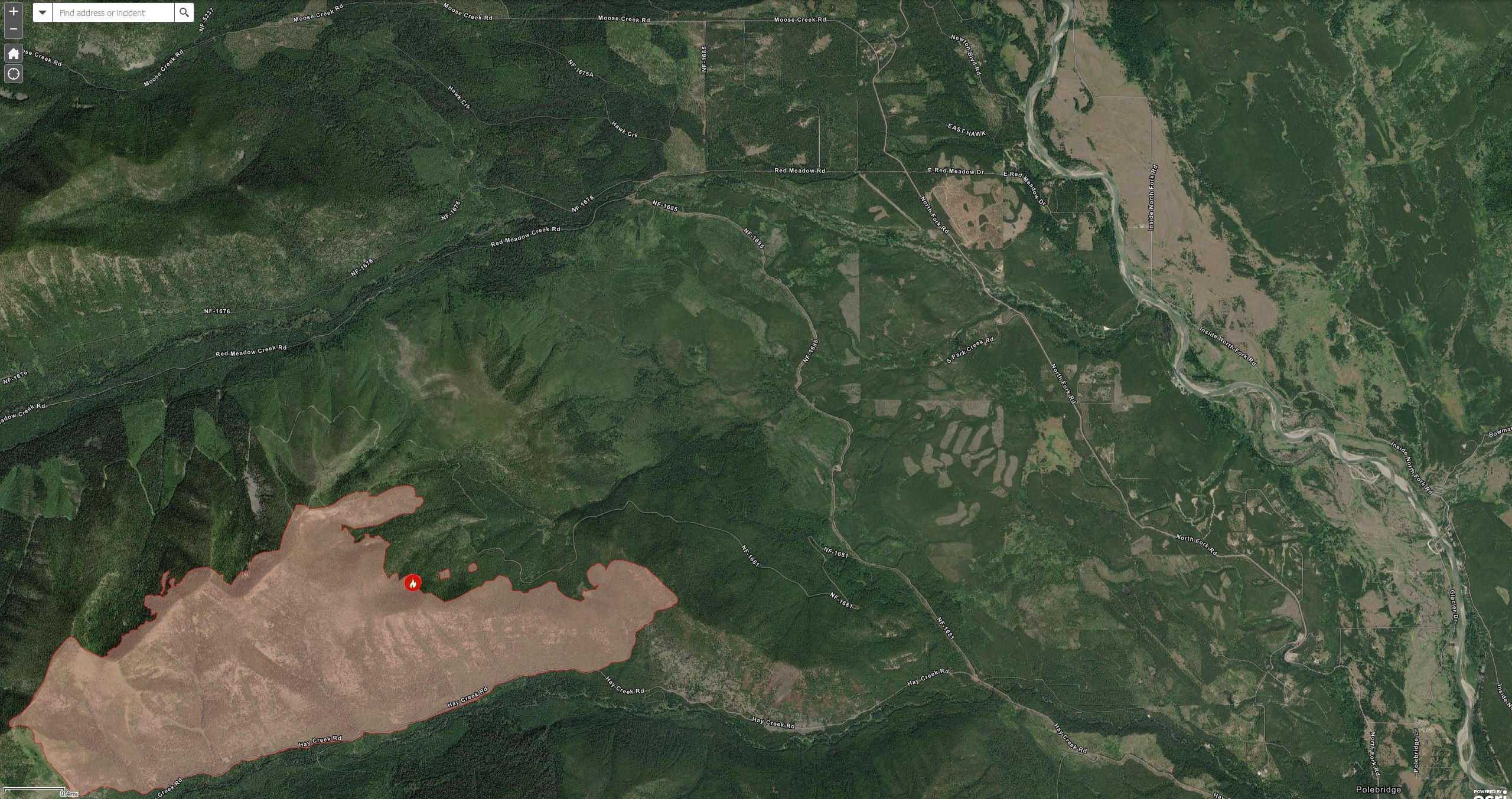 Hay Creek Fire at 2677 acres, Aug 4, 2021