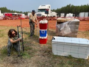 Montana FWP and Flathead National Forest staff install electric fence around possible bear attractants at the Hay Creek Fire Camp on August 4, 2021